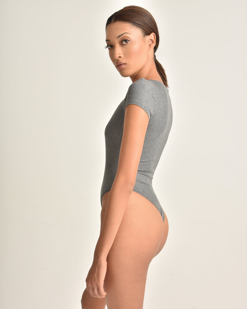 Dani Crewneck Ribbed Bodysuit_Heather Grey_Side