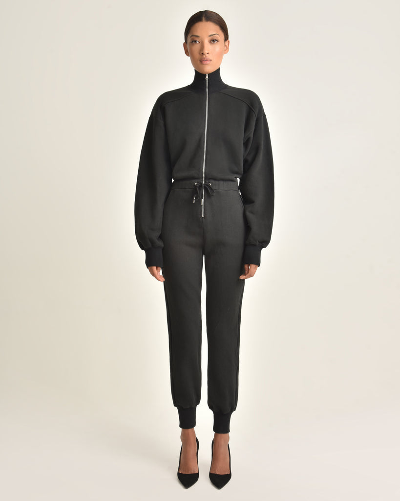 Red-Eye French Terry Zip Front Jumpsuit_Black_Front