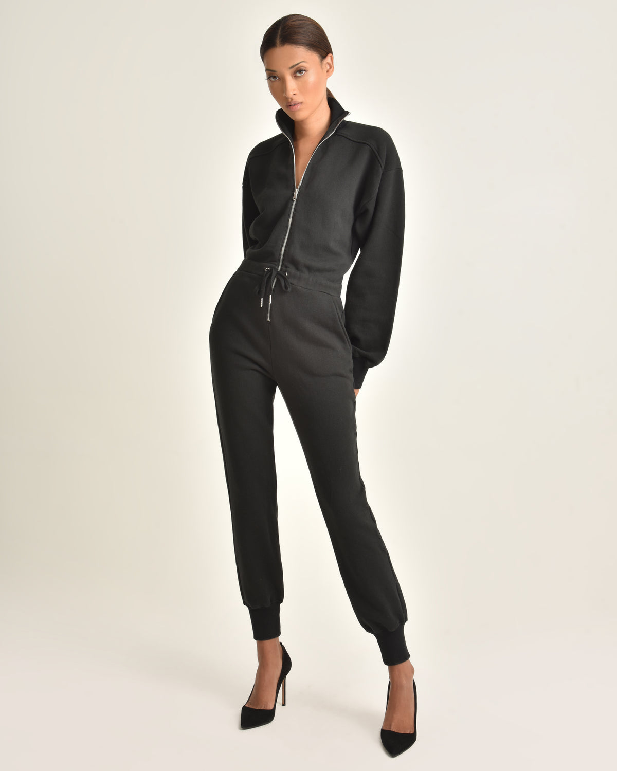 Red-Eye French Terry Zip Front Jumpsuit_Black_Front 2