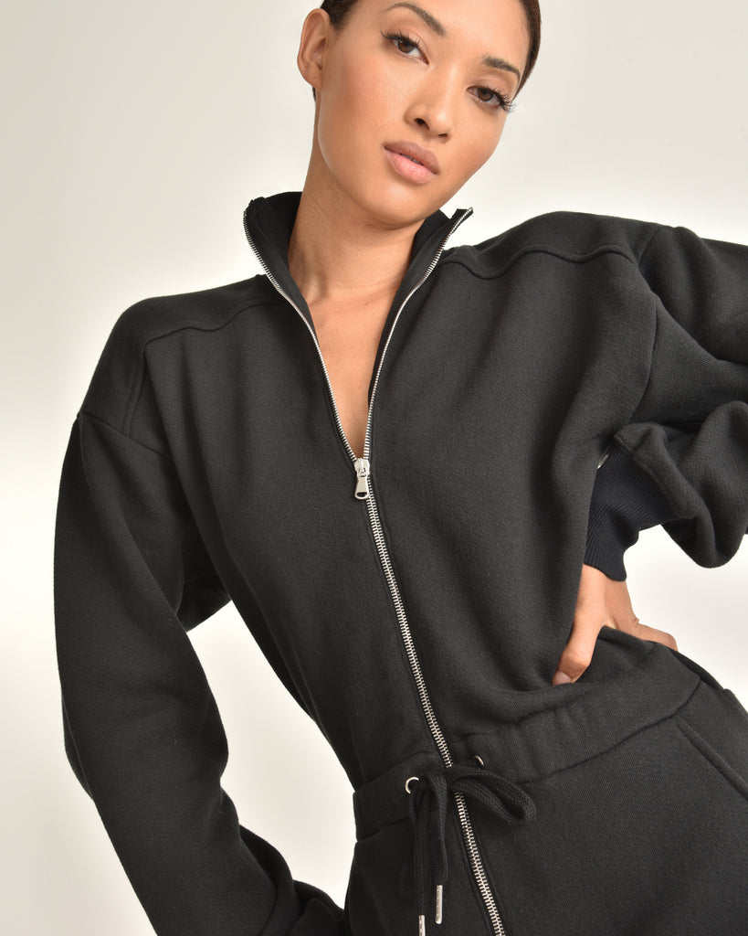 Red-Eye French Terry Zip Front Jumpsuit_Black_Front 4