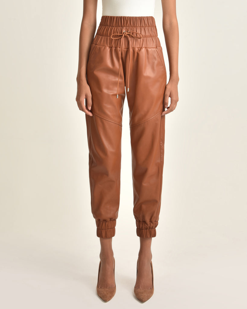 Dalton Leather Jogger_Sienna_Front