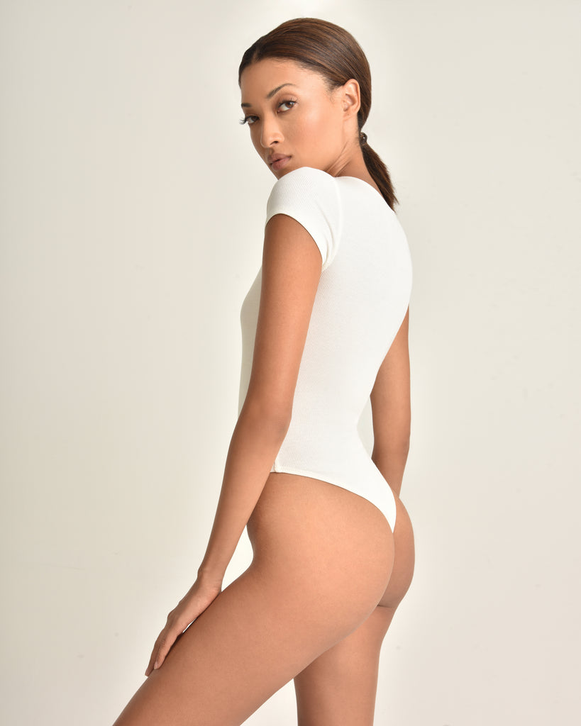 Dani Crewneck Ribbed Bodysuit_Ivory White_Back