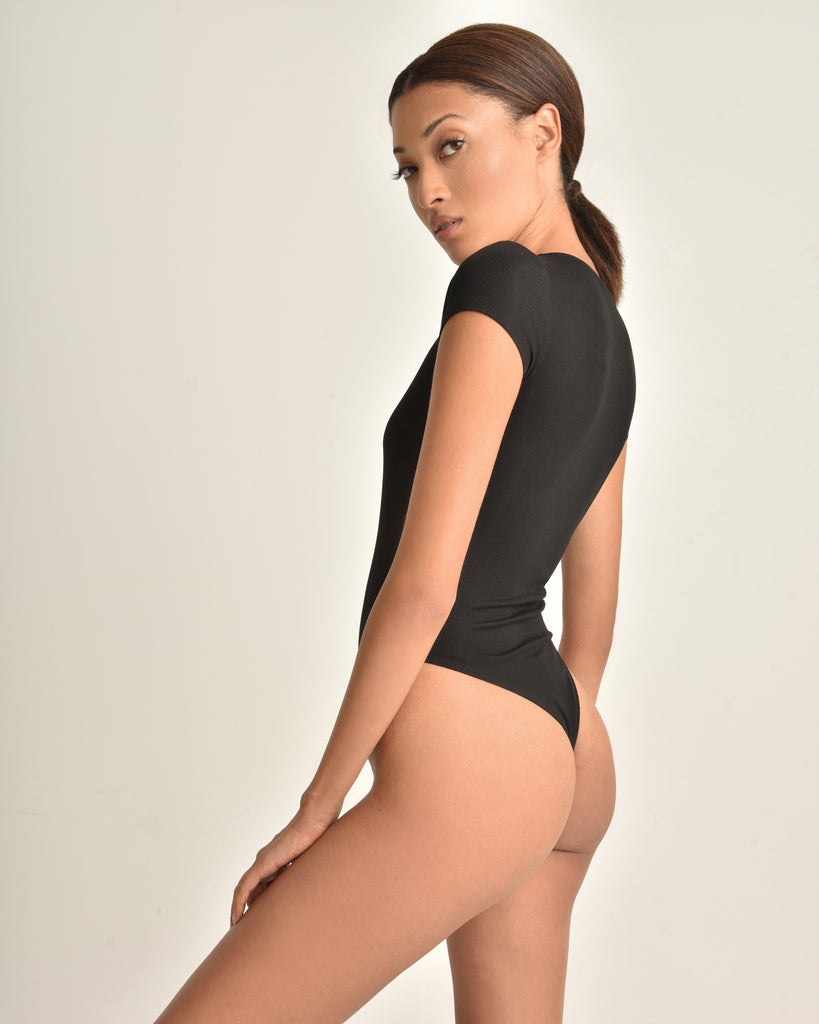 Dani V Neck Ribbed Bodysuit_Black_Back