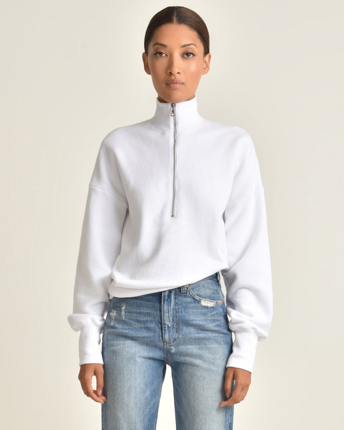 So Relaxed French Terry Zip Front Sweatshirt