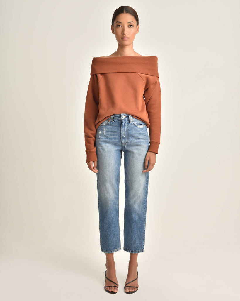 So Relaxed Off The Shoulder Plush Sweatshirt_Rust_Front 2