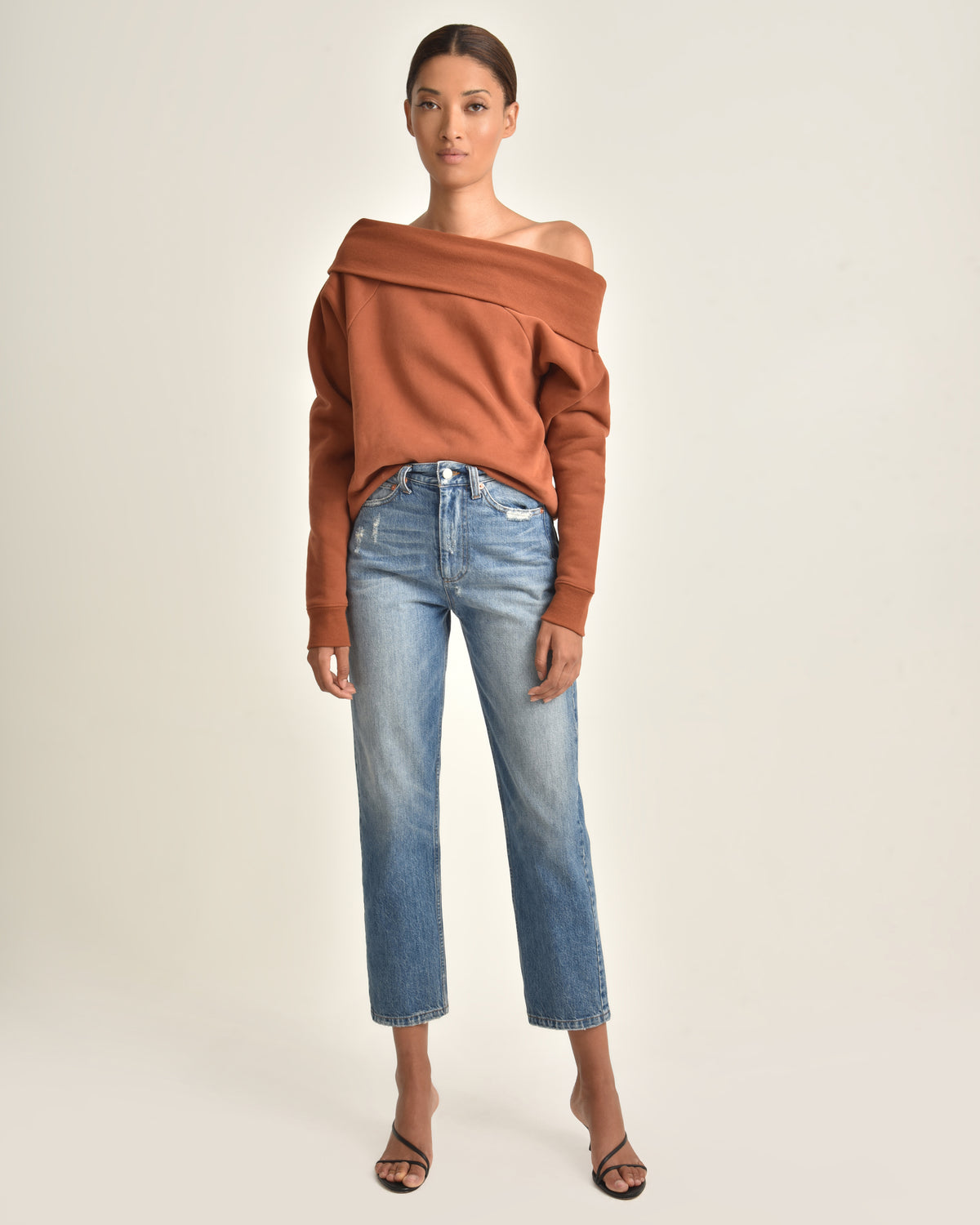 So Relaxed Off The Shoulder Plush Sweatshirt_Rust_Front
