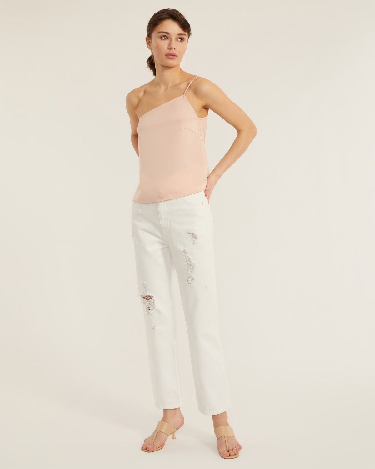 Quinn One Shoulder Satin Crepe Camisole in Blush
