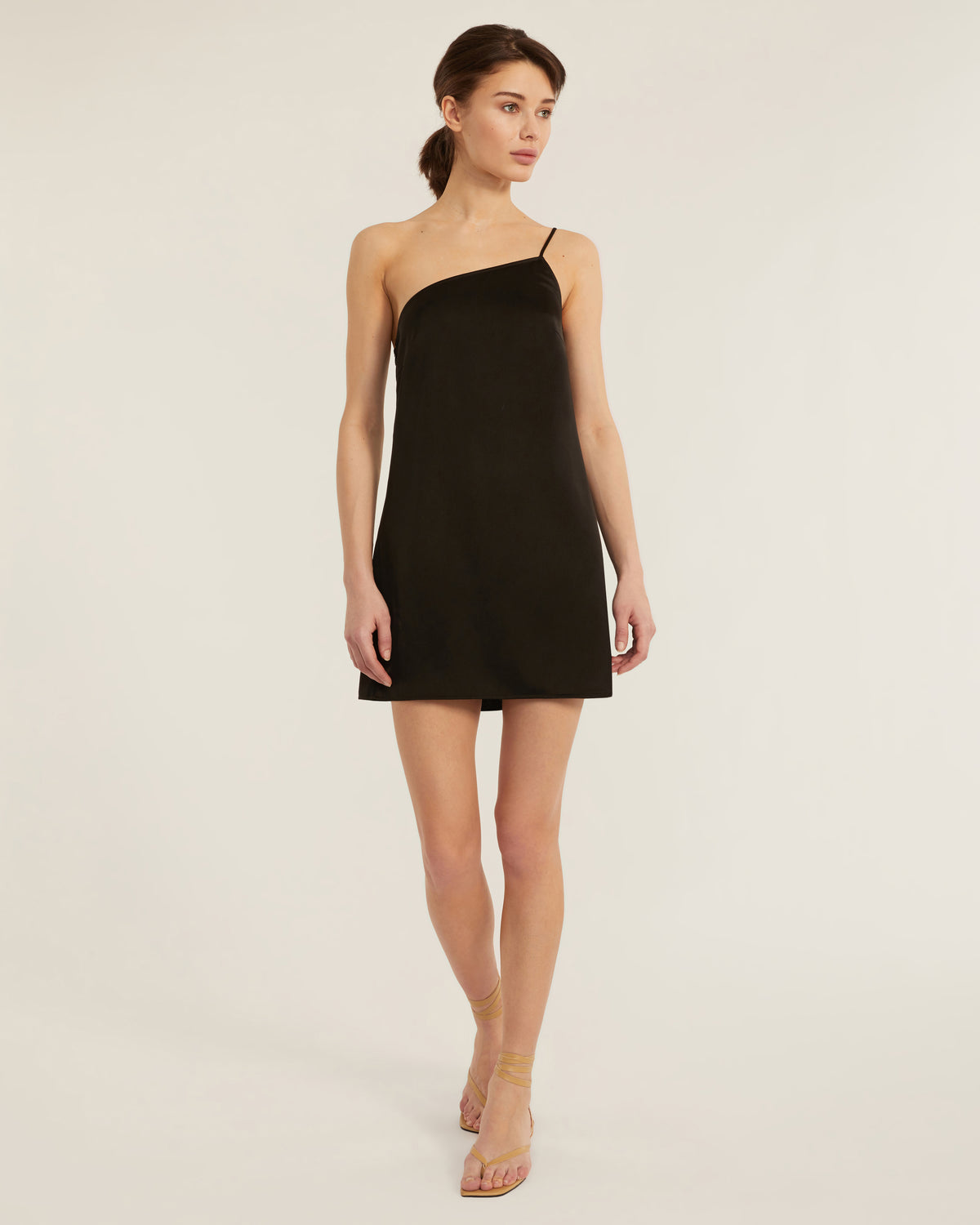 Quinn One Shoulder Satin Crepe Shift Dress in Black