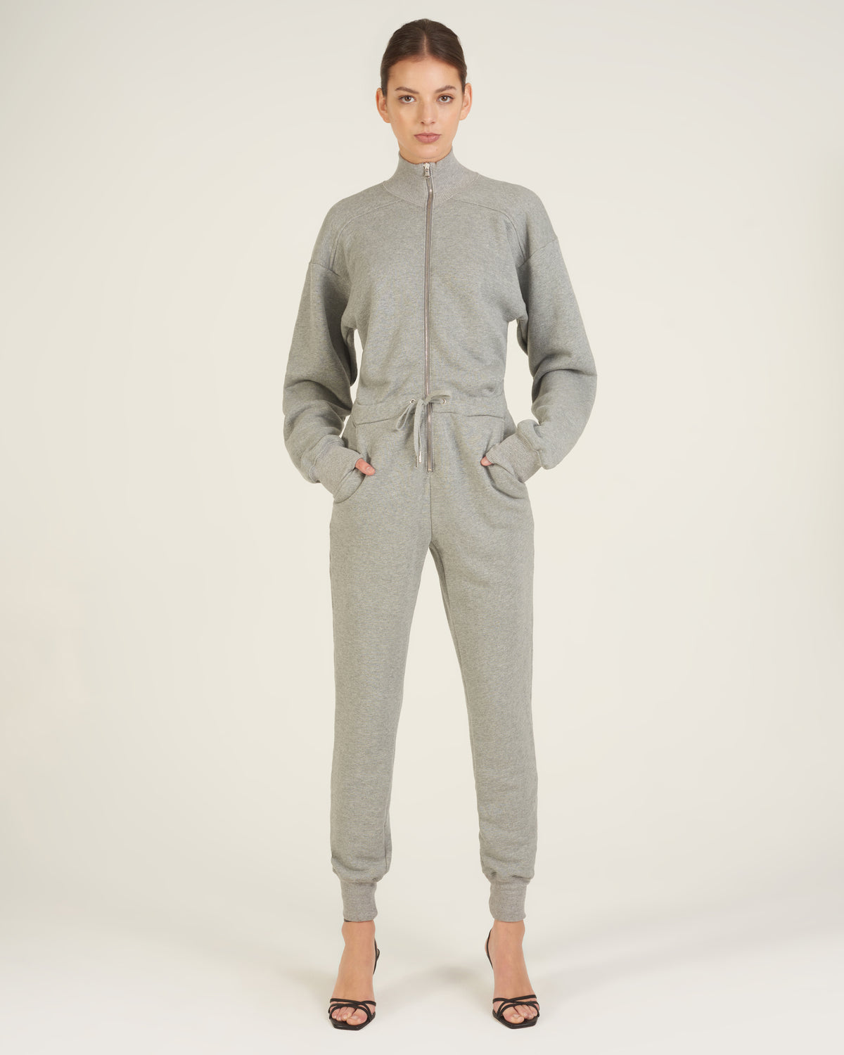 Red-Eye French Terry Zip Front Jumpsuit in Heather Grey