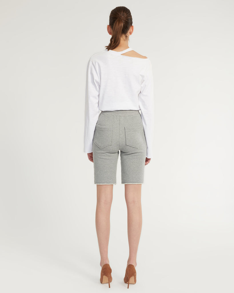 Romy Raw Edge French Terry Bermuda Short in Heather Grey