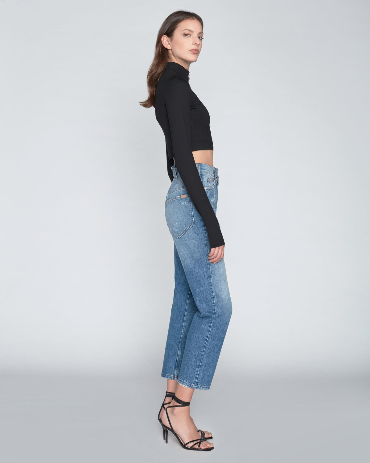 Sadie Cropped Zip Front Ponte Top