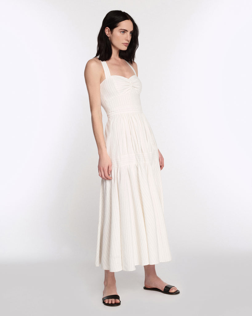 Seraphina Linen Dress in Linen White Pinstripe