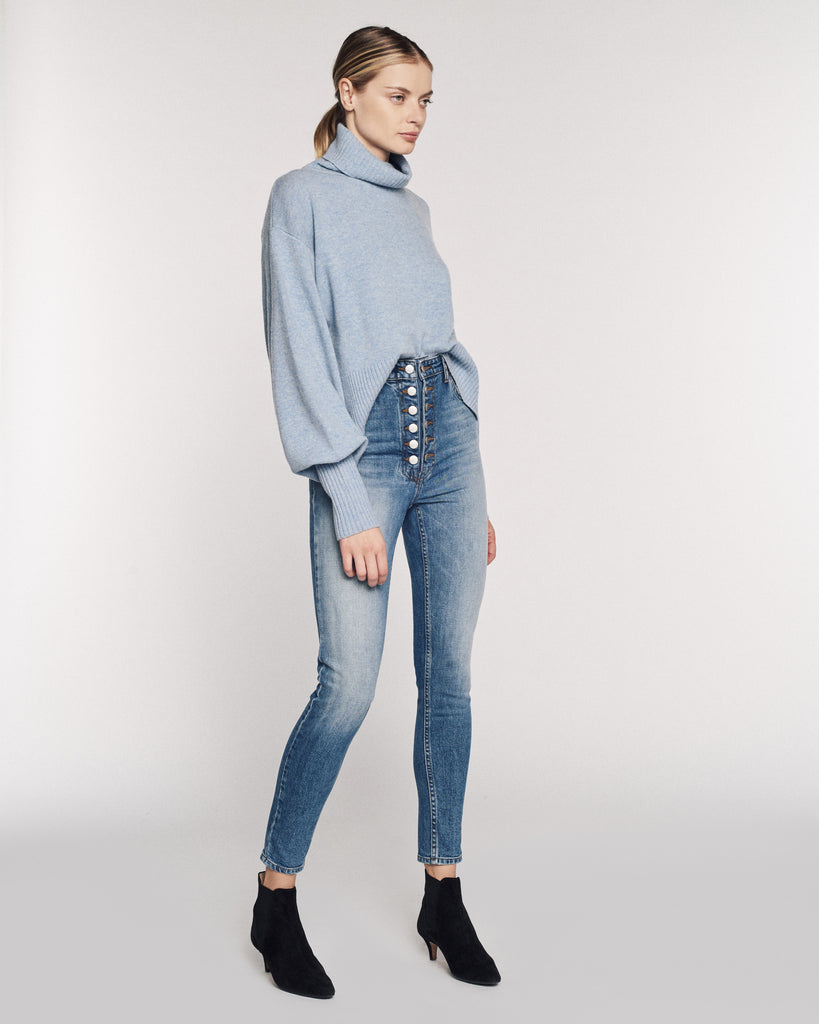 Sloane Cashmere Blend Turtleneck Sweater in Light Blue
