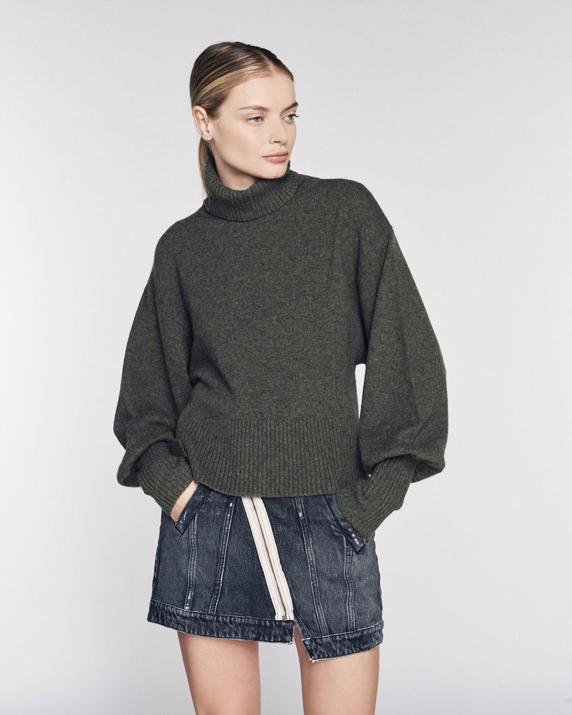 Sloane Cashmere Blend Turtleneck Sweater in Olive