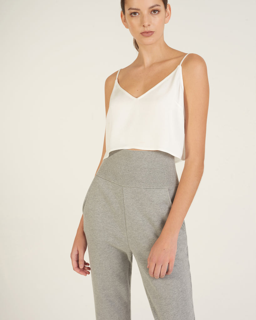 So High Waisted French Terry Sweatpants in Heather Grey