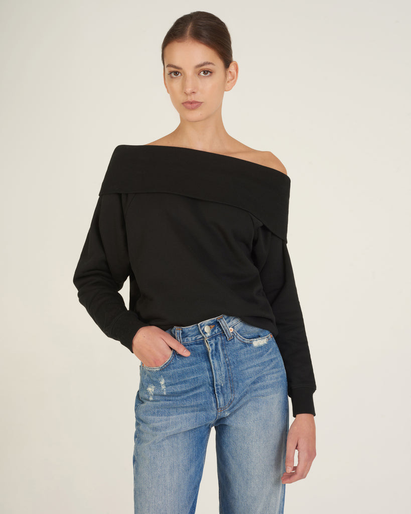 So Relaxed Off The Shoulder Plush Sweatshirt in Black