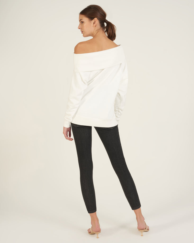 So Relaxed Off The Shoulder Plush Sweatshirt in White