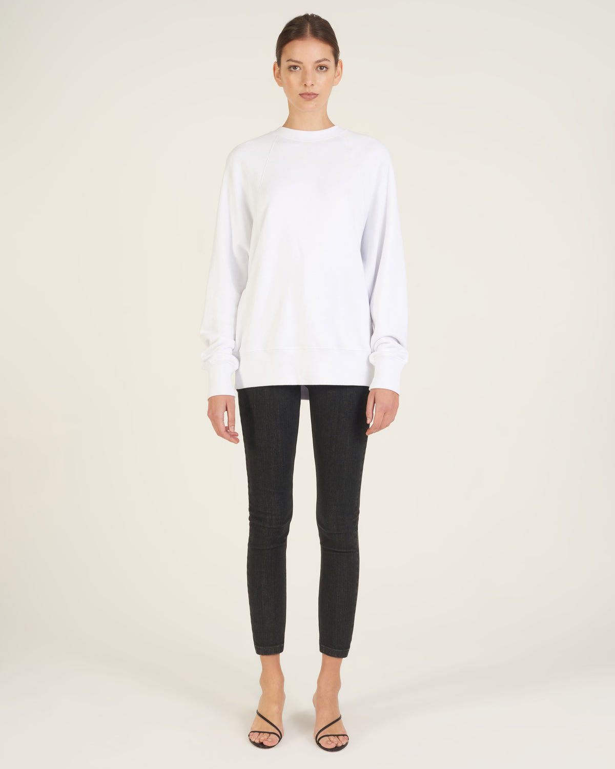So Uptight Drop Raglan French Terry Sweatshirt in White