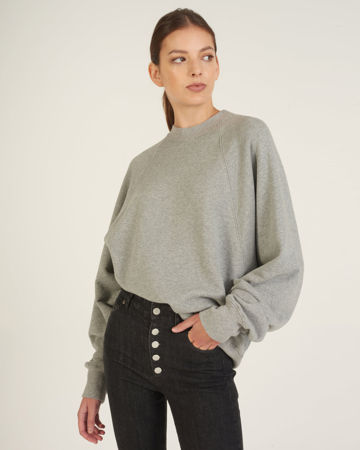 So Uptight Drop Raglan French Terry Sweatshirt in Heather Grey