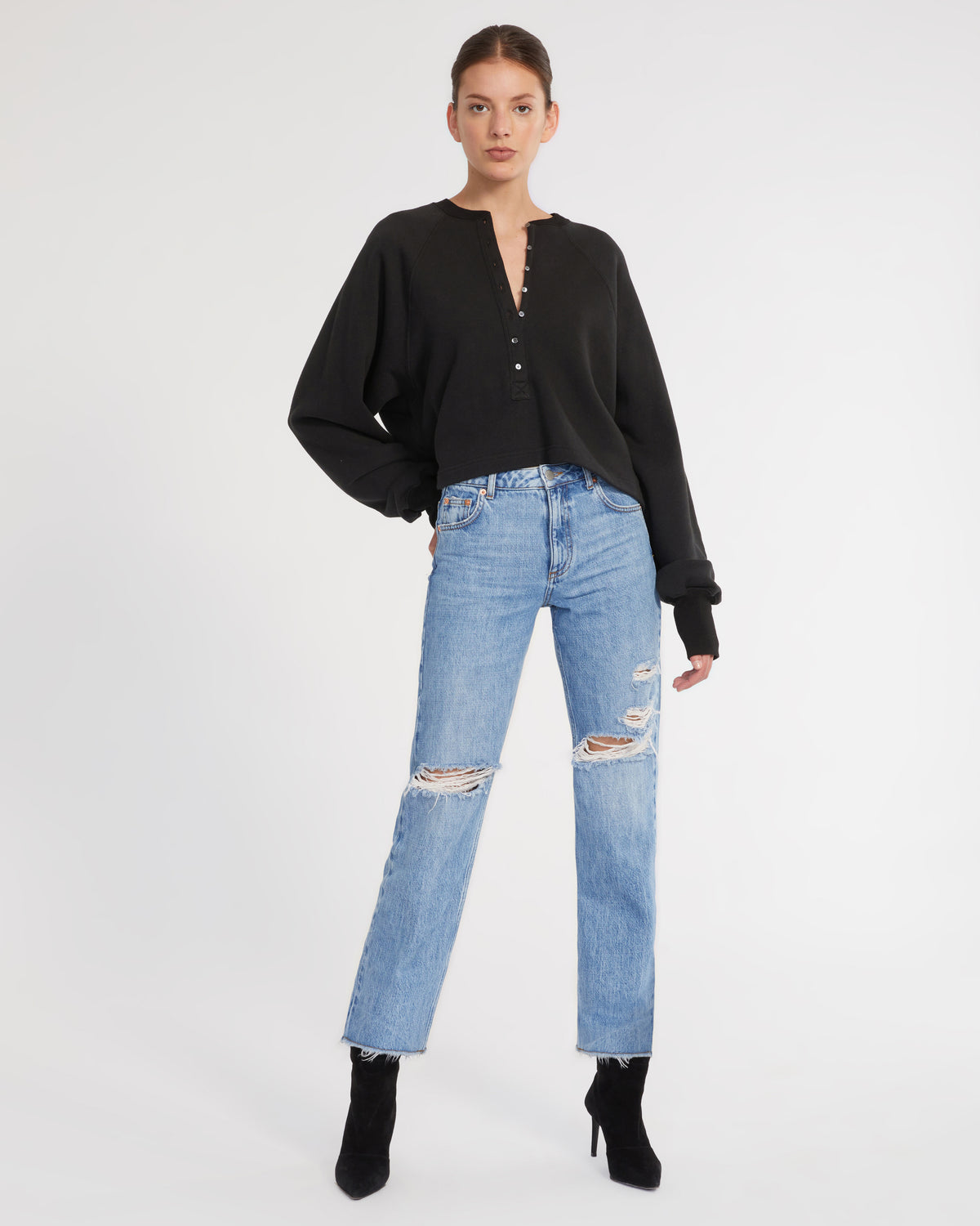 So Uptight French Terry Plunge Henley Sweatshirt in Black