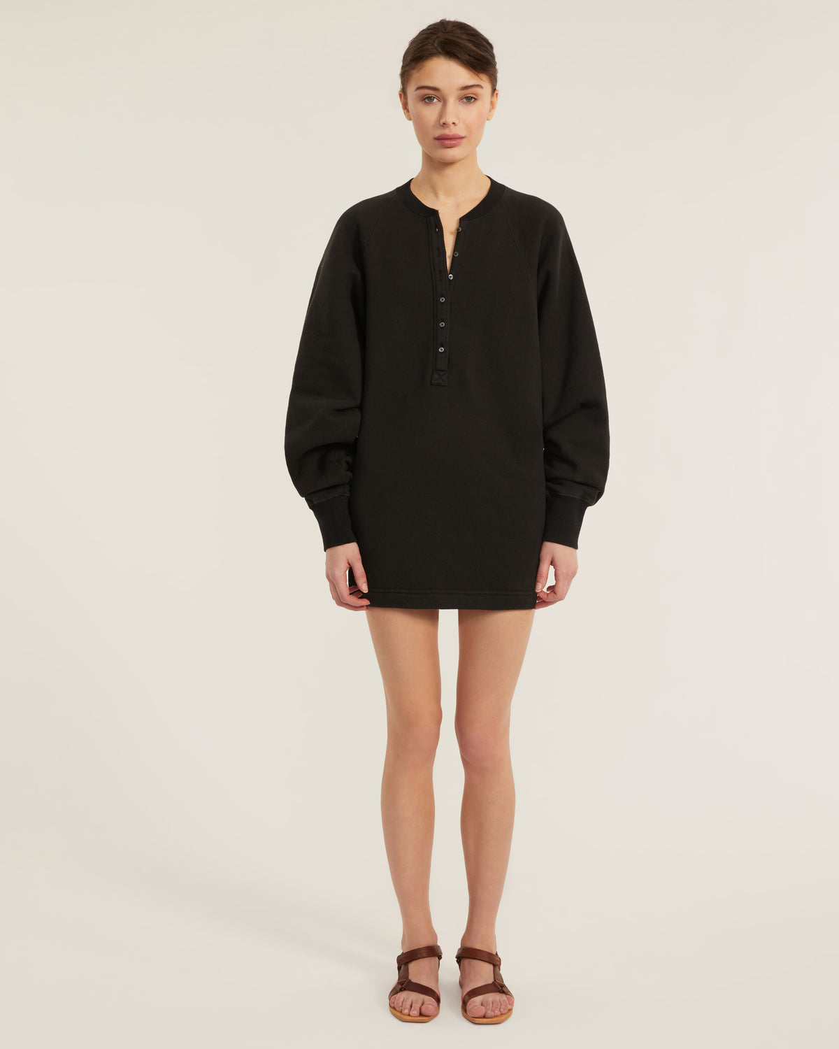 So Uptight French Terry Plunge Henley Sweatshirt Dress in Black