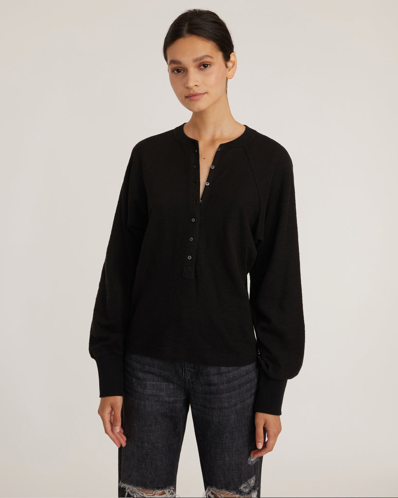So Uptight Waffle Knit Henley in Black