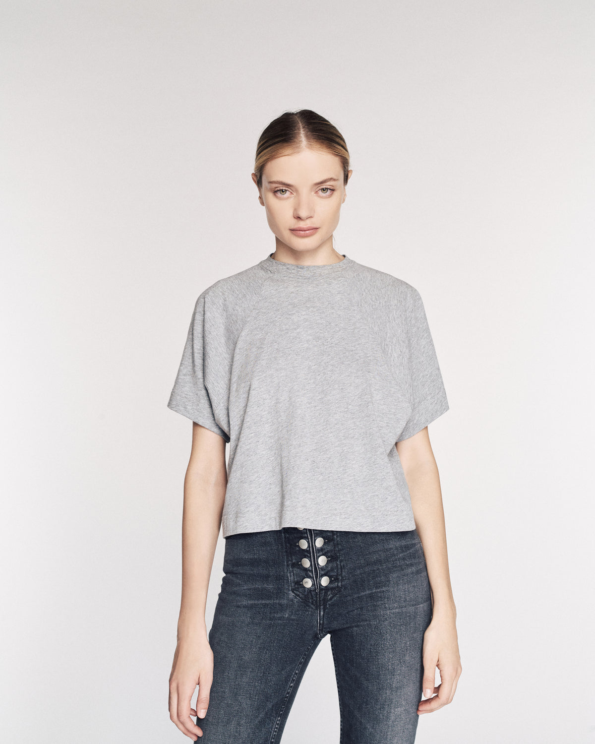 So Uptight Cropped Raglan Crew in Heather Grey