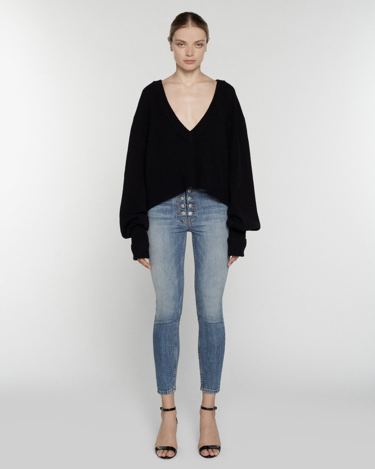Tawny Cashmere Blend Slouchy V-Neck Sweater in Black
