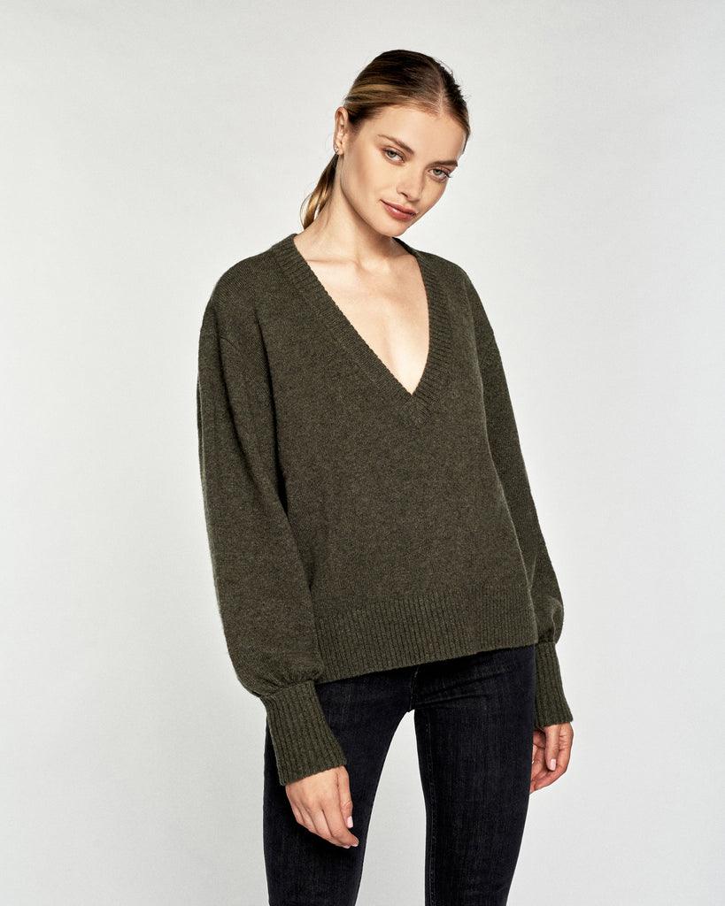 Tawny Cashmere Blend Slouchy V-Neck Sweater in Olive