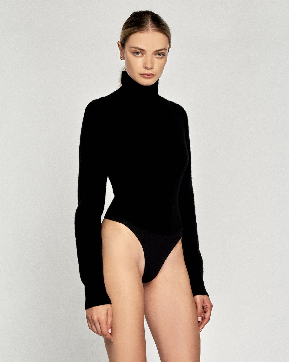 Waverly Cashmere Blend Thong Sweater Bodysuit in Black