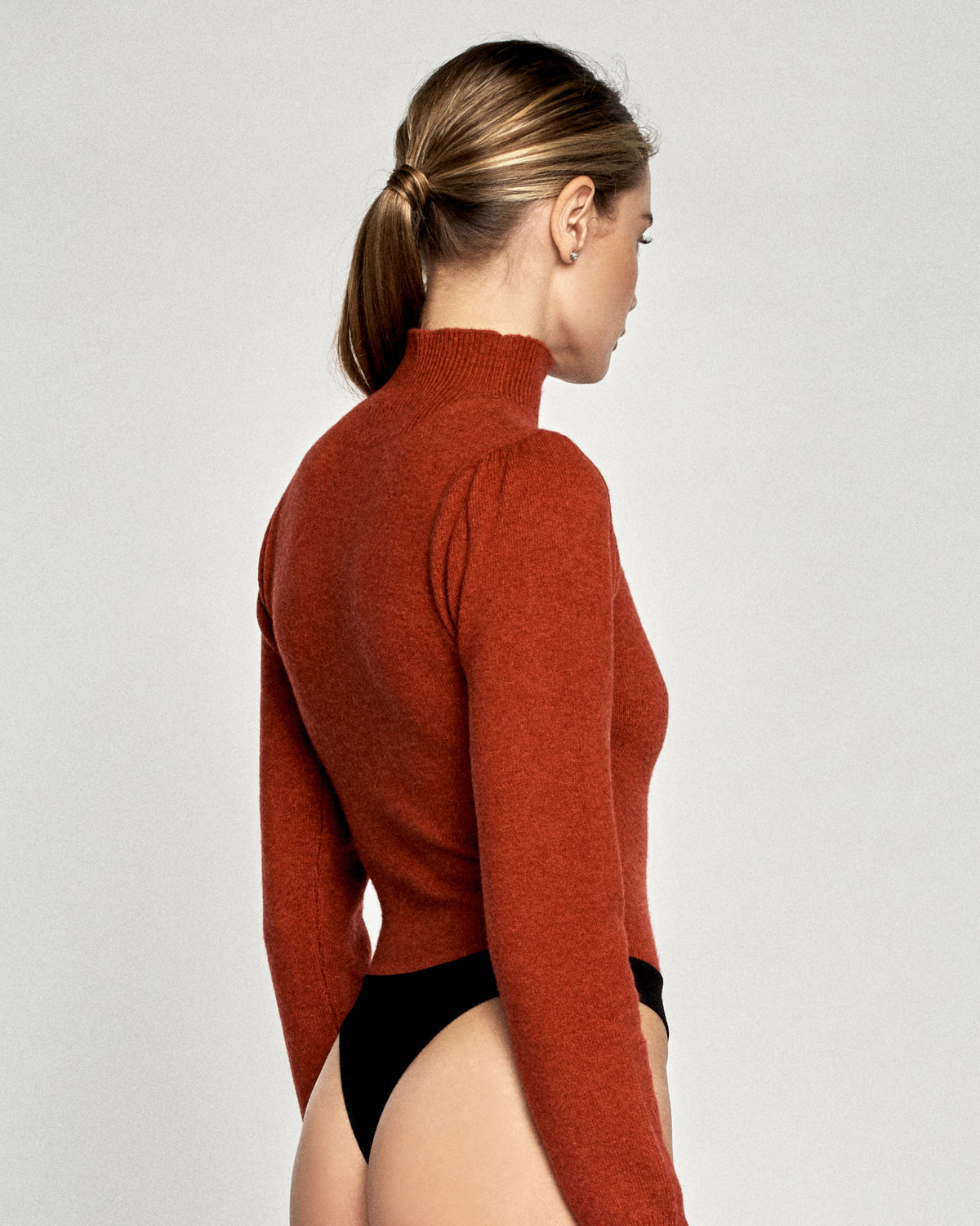 Waverly Cashmere Blend Thong Sweater Bodysuit in Paprika