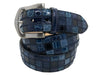 Alligator Caiman Lizard Multi-Skin Patchwork Belt Blue
