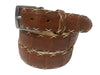 Caiman Skin Cross Stitch Belt Cognac