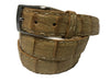 Caiman Skin Pick Stitch Belt Sand