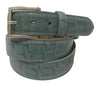 Calf Skin Crocodile Embossed Belt Aqua