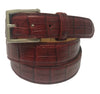 Calf Skin Crocodile Embossed Belt Burgundy