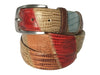 Calf Skin Lizard Embossed Patchwork Belt Multicolor