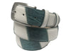 Calf Skin Lizard Embossed Patchwork Belt White/Turquoise
