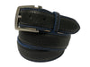Bison Skin Painted Edge Belt Black / Blue Stitch