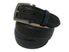 Bison Skin Painted Edge Belt Black / Blue Pick Stitch