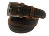 Bison Skin Painted Edge Belt Brown / Orange Stitch