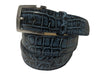 Alligator Skin Handpainted Belt Blue/Black