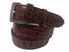 Alligator Skin Handpainted Belt Red/Black
