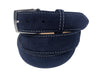 Calf Skin Suede Belt Navy / White Stitch