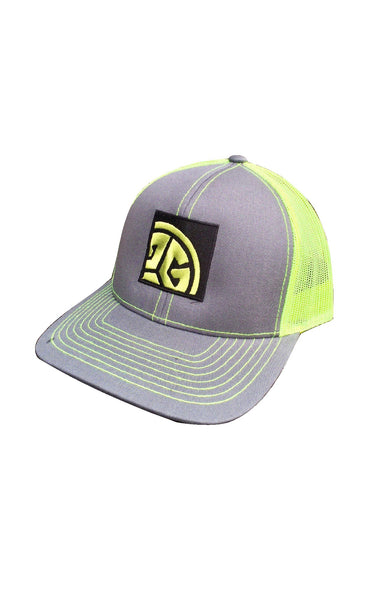 Grubwear TRI-G BLock logo, Grey & Safety yellow Trucker snapback