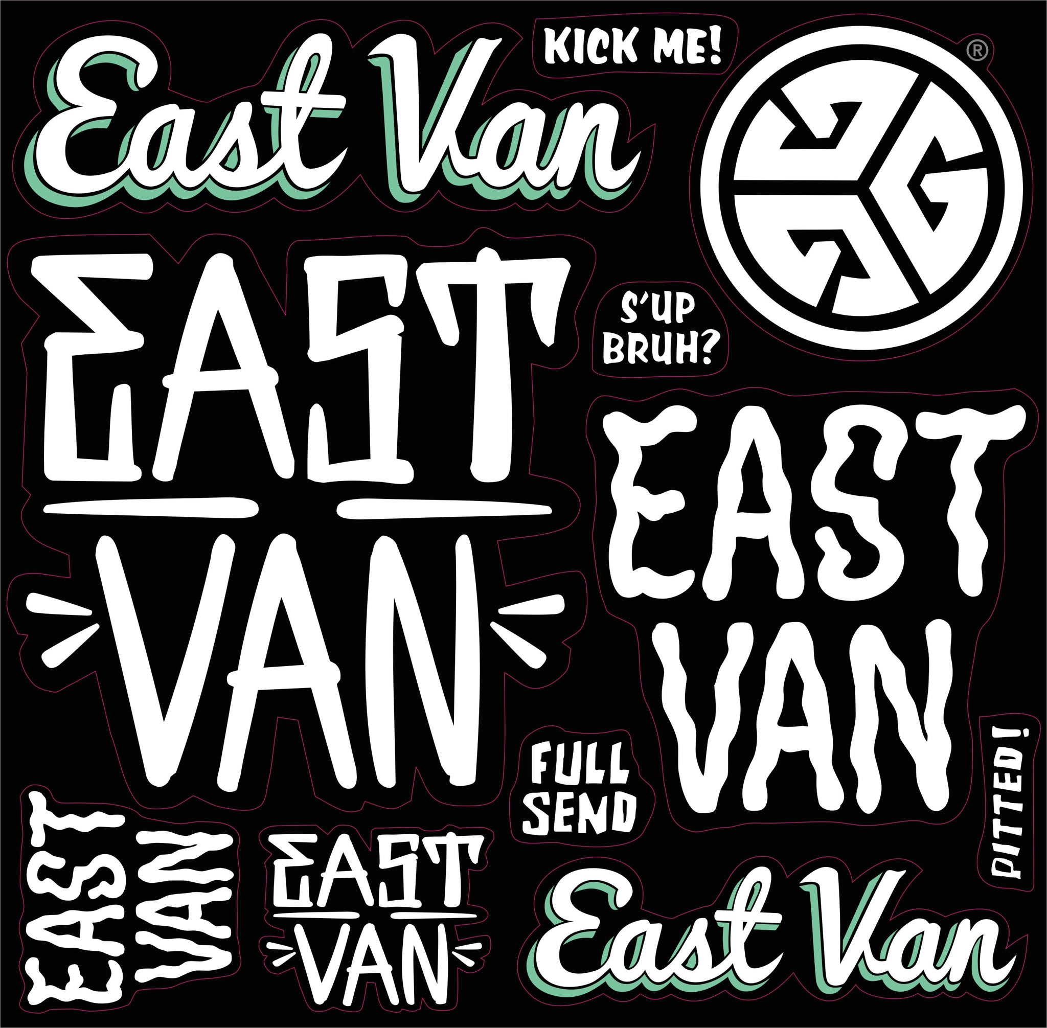 EAST VAN Sticker Sheet by Grubwear