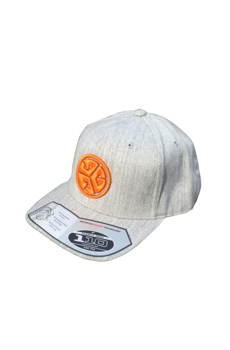 FLEXFIT brand 3D puff Embroidered Grubwear hat with FLAT Brim. Grey heathered look, Snapback.