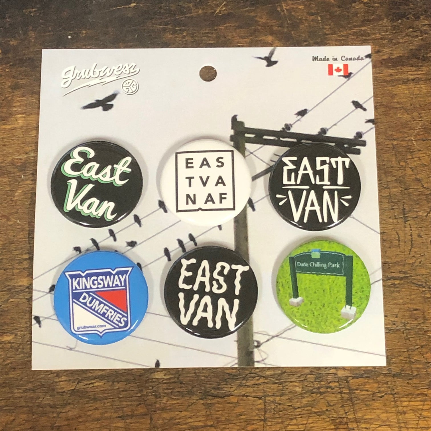 East van buttons & pins