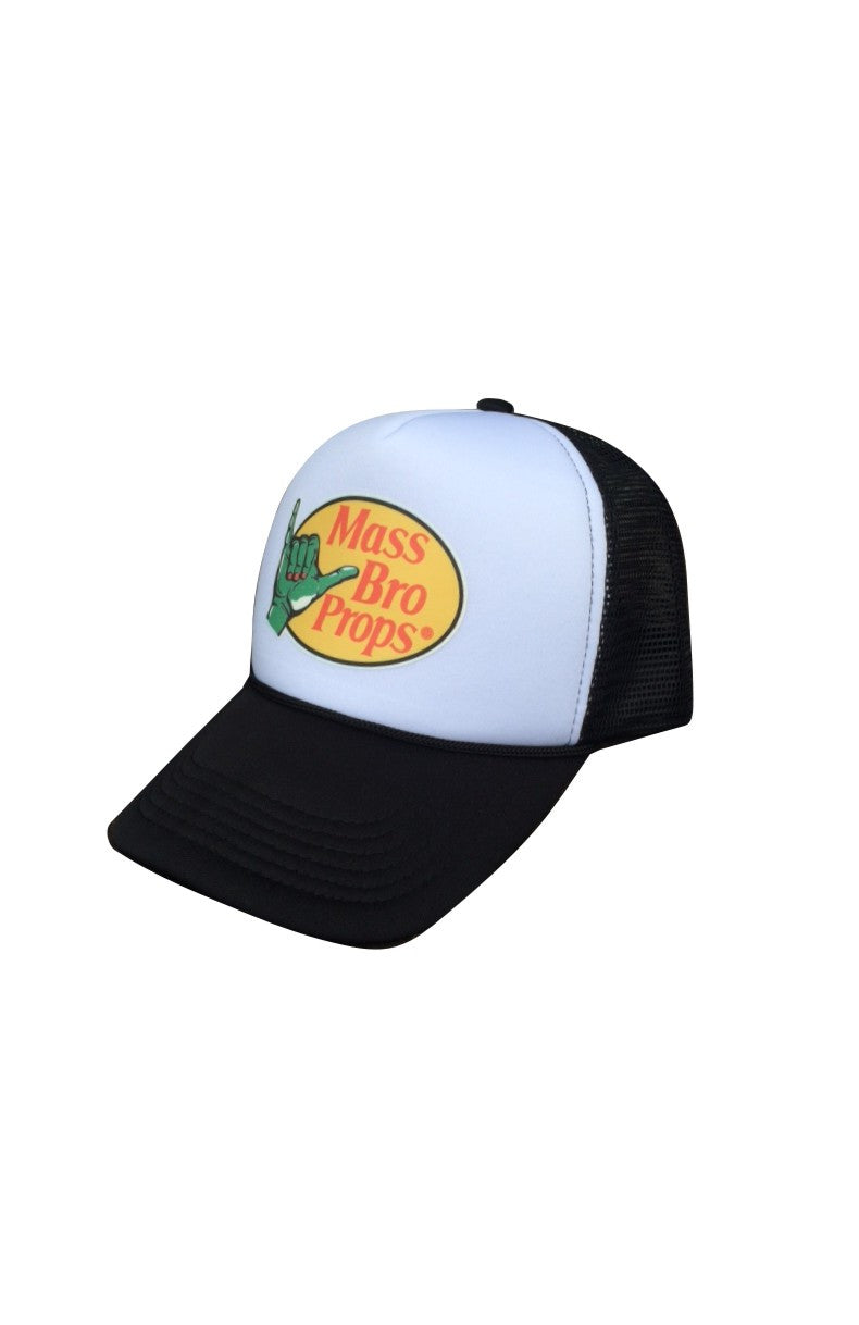 Stylish foam front trucker hat with tribute parody to the famous BASS BRO SHOPS logo brand.