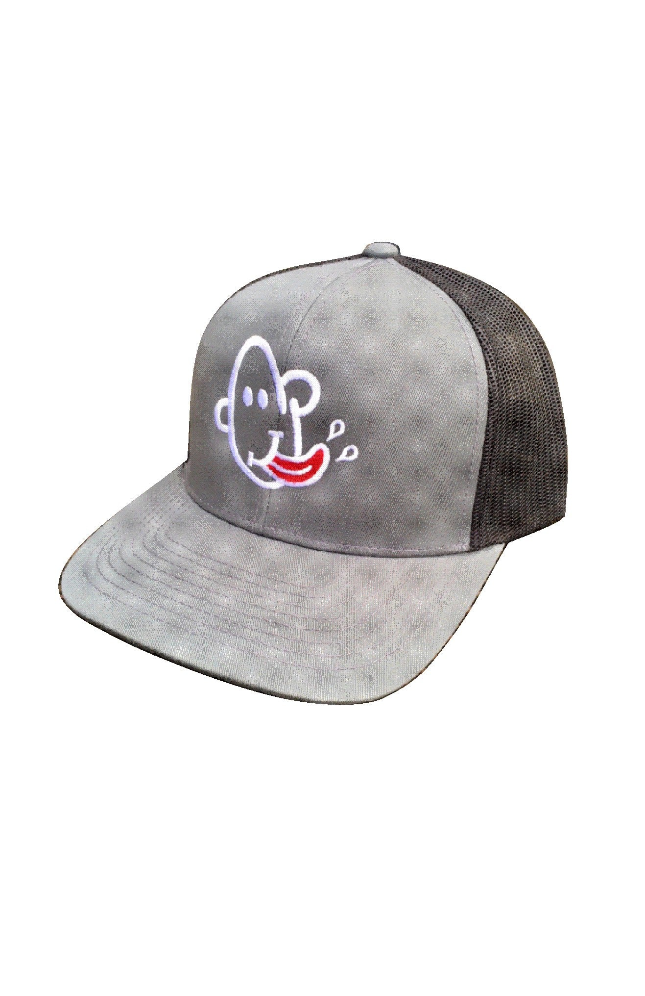 Grey & black Mesh back trucker cap with Grubwear Slurp logo.